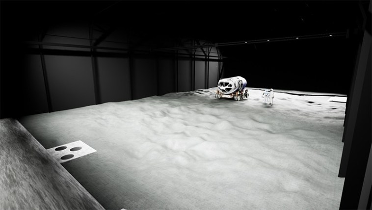 VR render of the LUNA regolith test bed area
