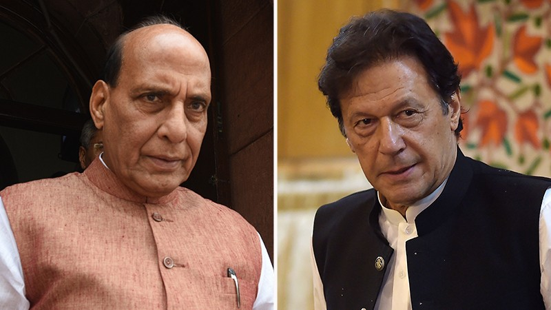 Left: Rajnath Singh, Right: Imran Khan