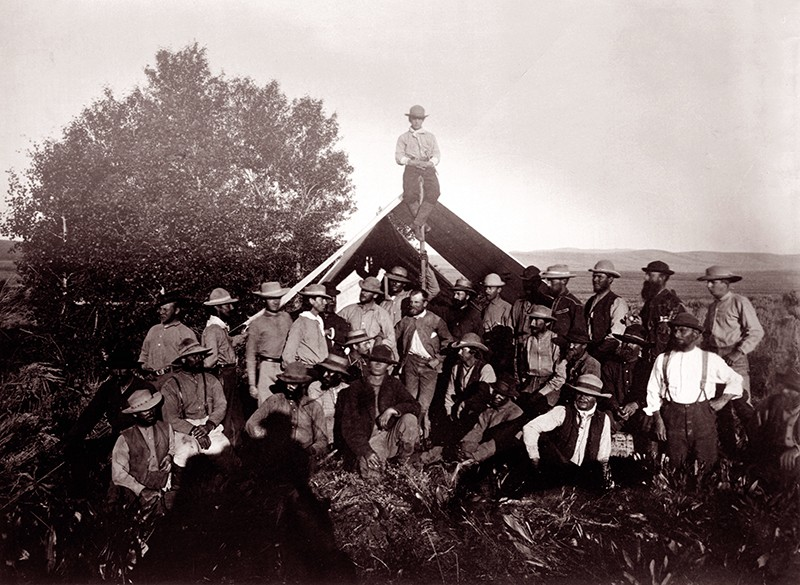 The president of the United States Geological Survey (USGS) with his team at Wasatch mountain range, Utah in 1869
