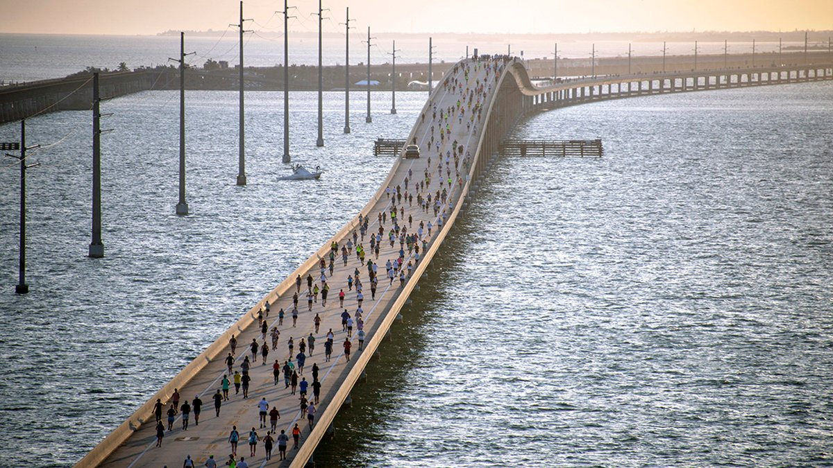 Florida Keys Seven Mile Bridge Run Staged with Coronavirus Protocols