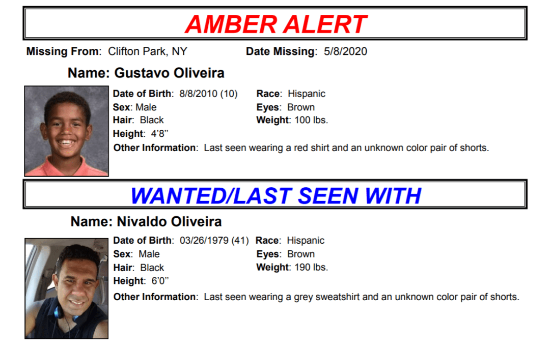 An Amber Alert flyer for Gustavo Oliveira.