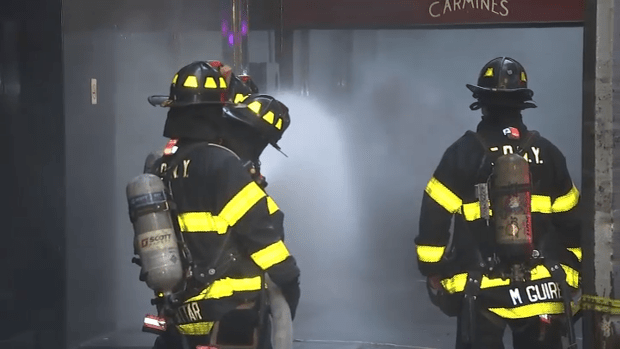 Smoke Billows From Carmine's in Times Square