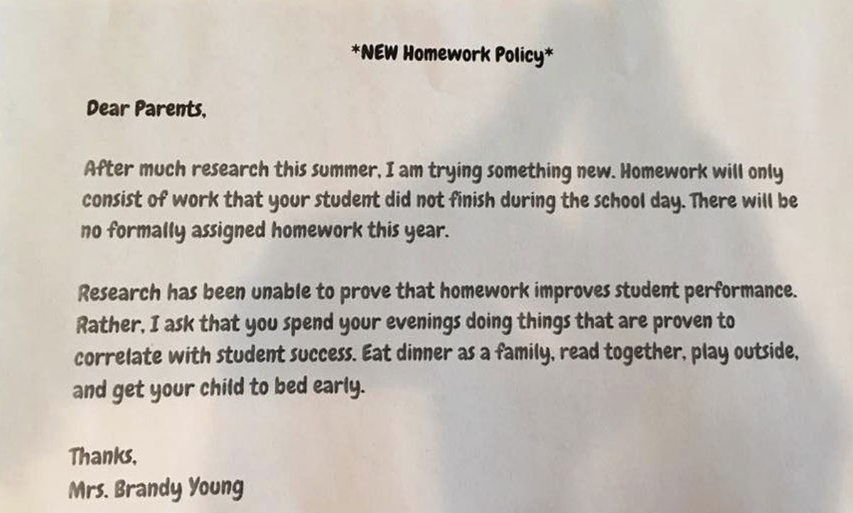 Image result for what's wrong about giving no homework