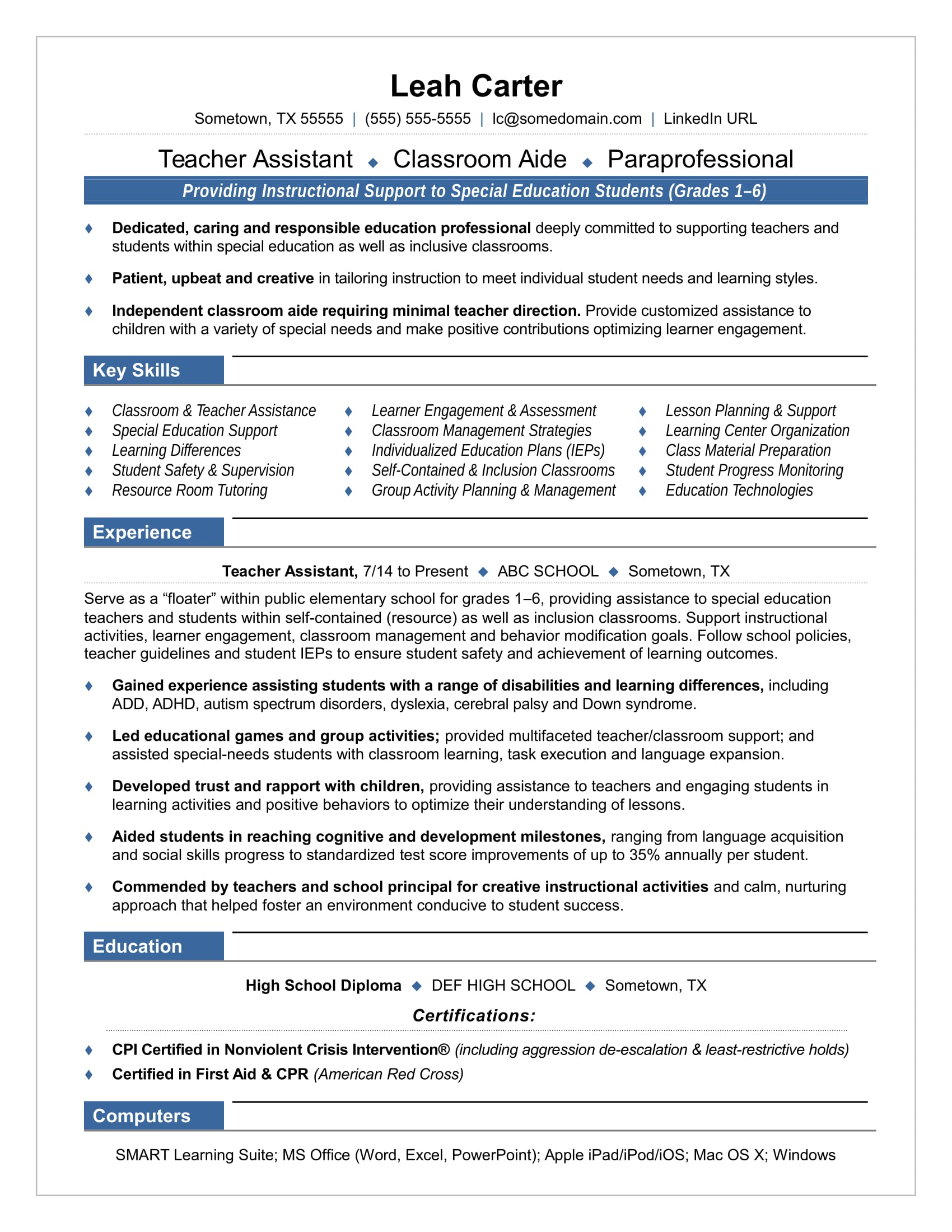Writing A Teaching Resume