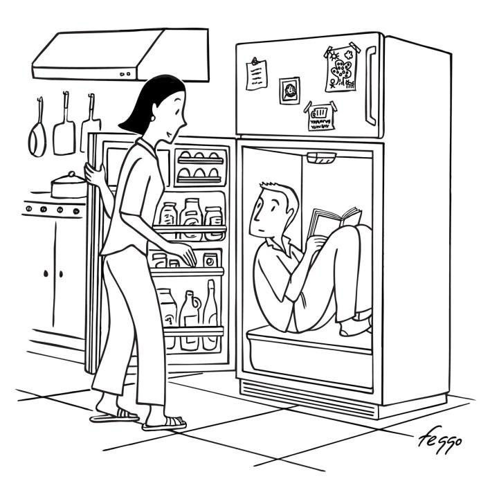 A woman opens a fridge to find a man inside.