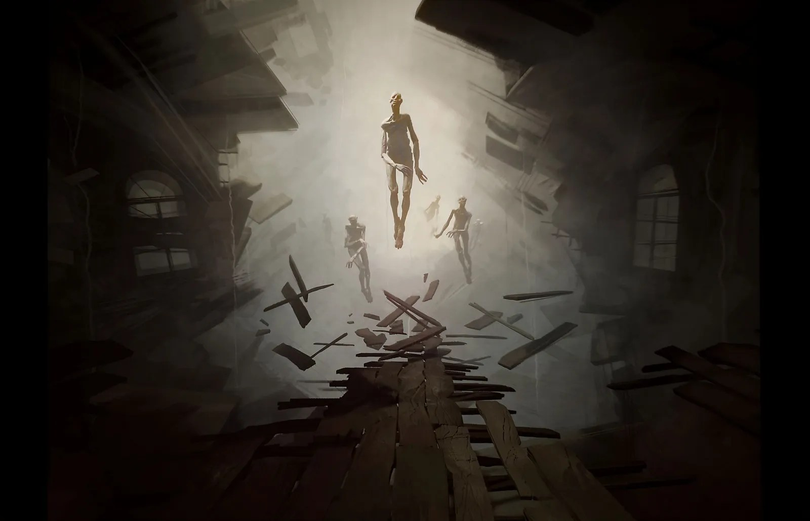 Three skeletal figures float in a dimly lit tunnel with wooden structures.