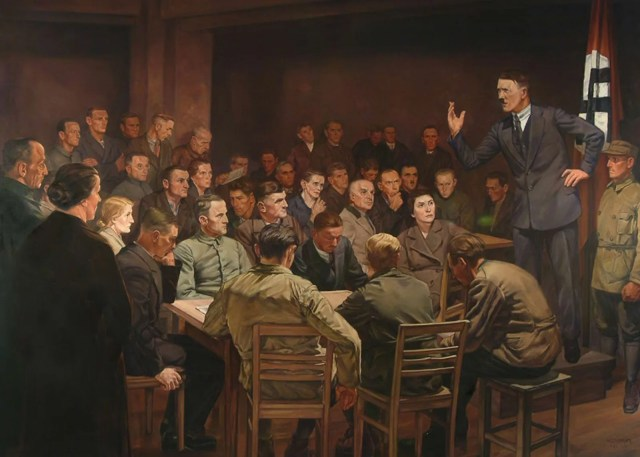 Hitler talking to a room of people