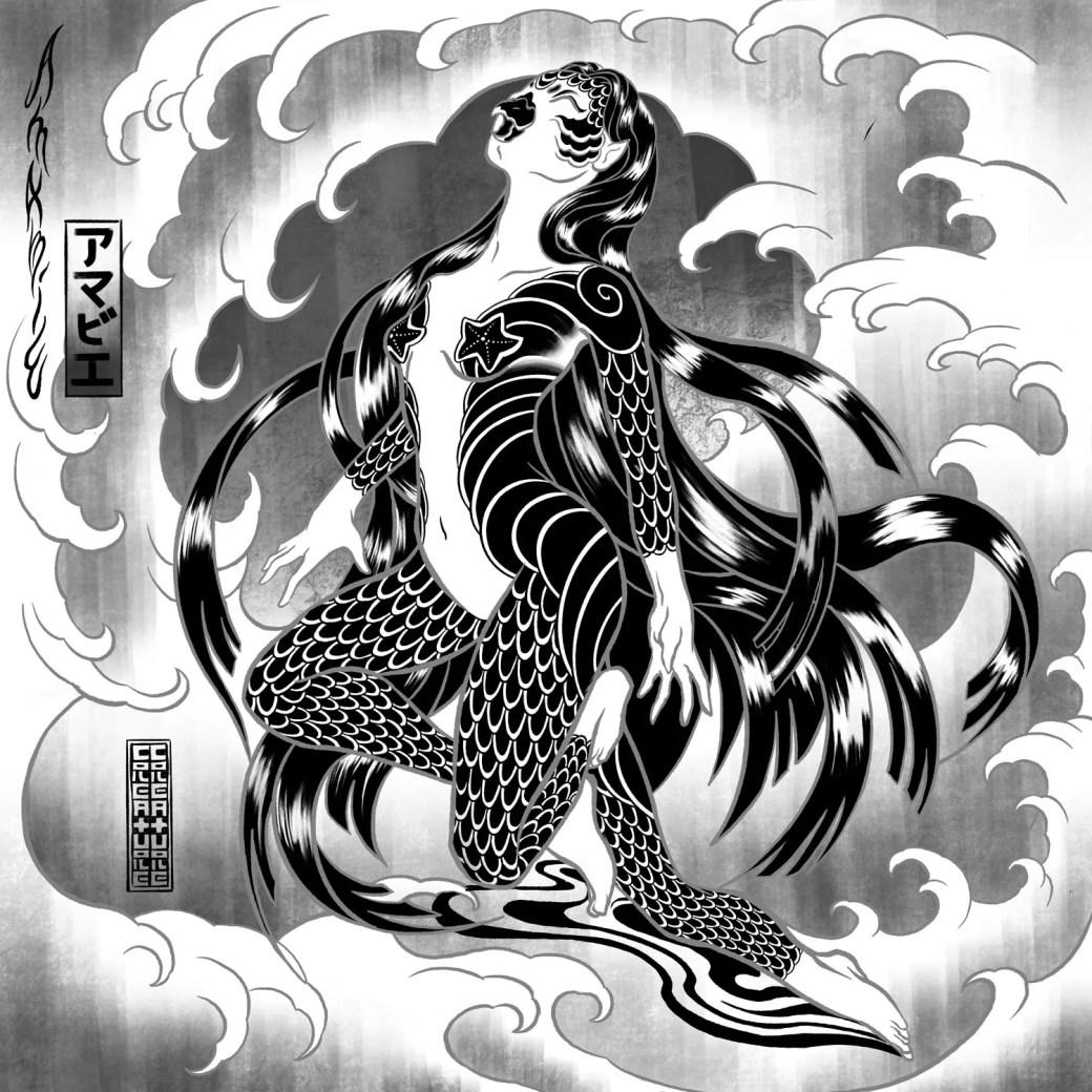 Black and white illustration of Amabie