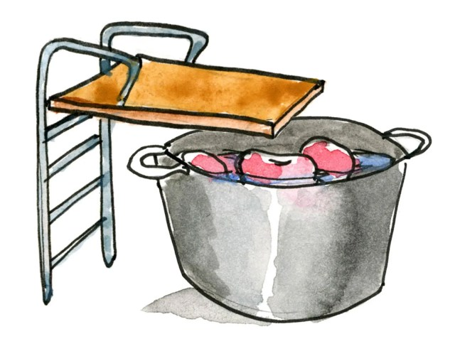 A diving board over a bucket of apples and water.