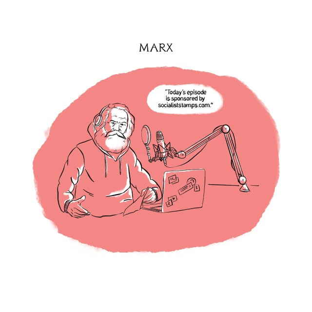 Marx recording his trueeconomiccrime podcast.
