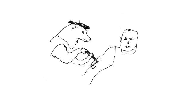 Dog tattoo artist giving a person an anchor tattoo on their upperarm.