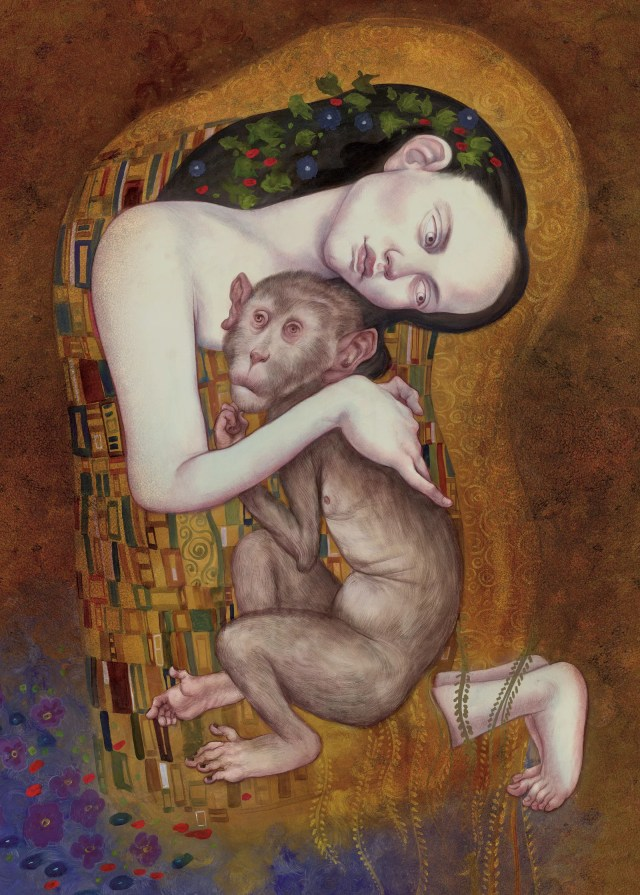 A painting of a woman in a patchwork cloak embracing a monkey.
