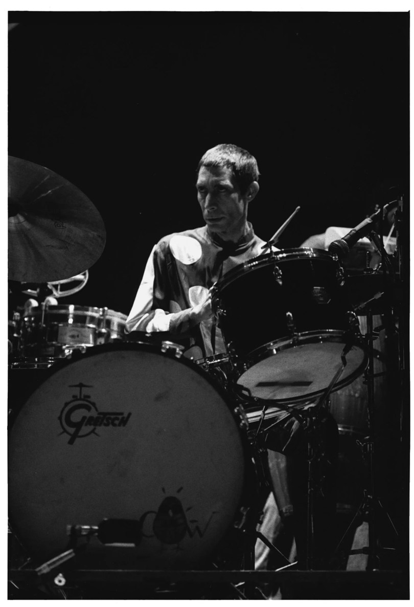 Charlie Watts plays the drums onstage with the Rolling Stones.