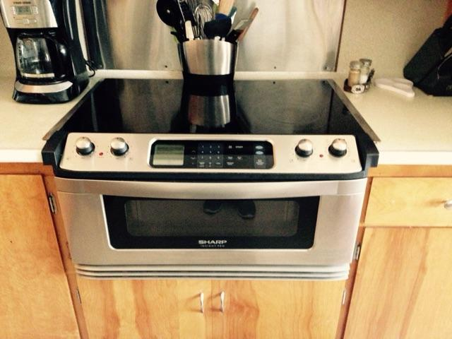 sharp glass electric stove top and microwave drawer