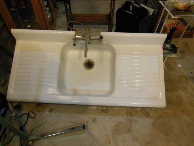 vintage porcelain double drain farm sink 53 x 25