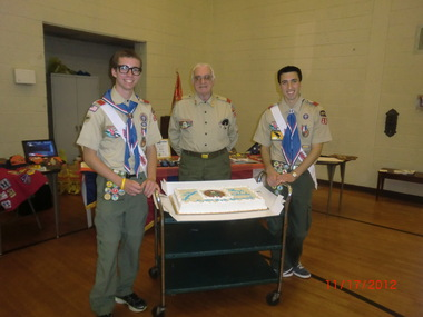 Boy Scouts, Frank Mondella of Raritan Township and Charlie Koontz of Flemington, of Troop 194, achieved Boy Scout's highest rank of Eagle Scout. Pictured here are, (from left) Charlie Koontz, Dr. Lawrence A. Ferrari, Eagle advisor of Troop 194, and Frank Mondella.