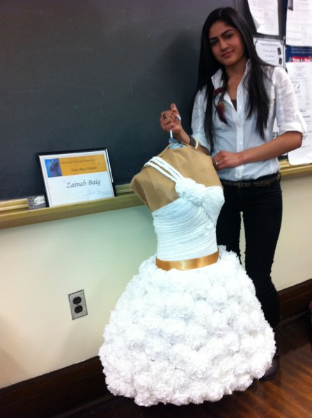 Dazzling gowns made of toilet tissue in Bayonne s fashion marketing     Dazzling gowns made of toilet tissue in Bayonne s fashion marketing class    NJ com