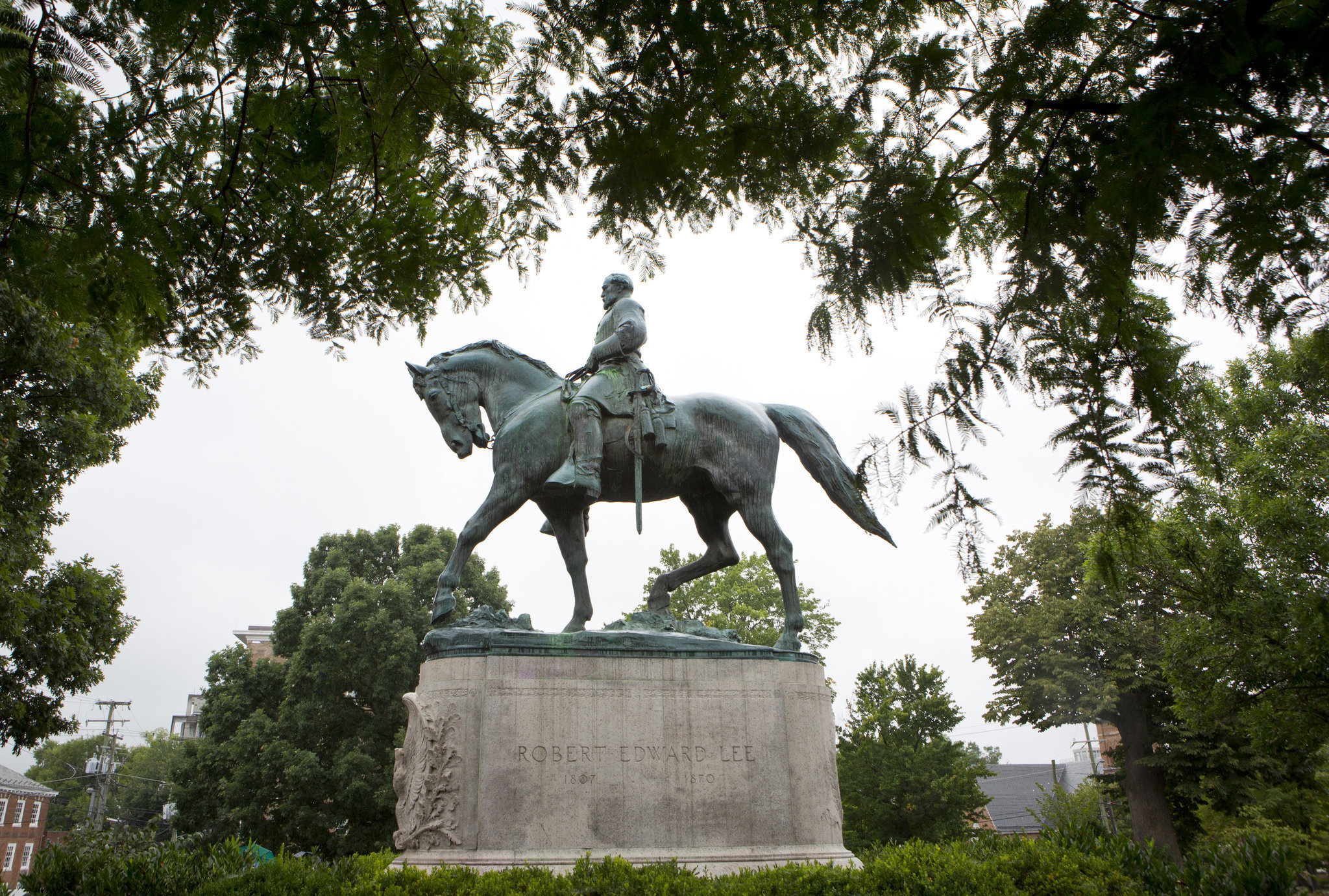 A statue of Confederate general Robert E. Lee sits in Emancipation Park in Charlottesville, Va. (AP Photo | Julia Rendlema)