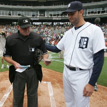Umpire Jim Joyce, pitcher Armando Galarraga, wire