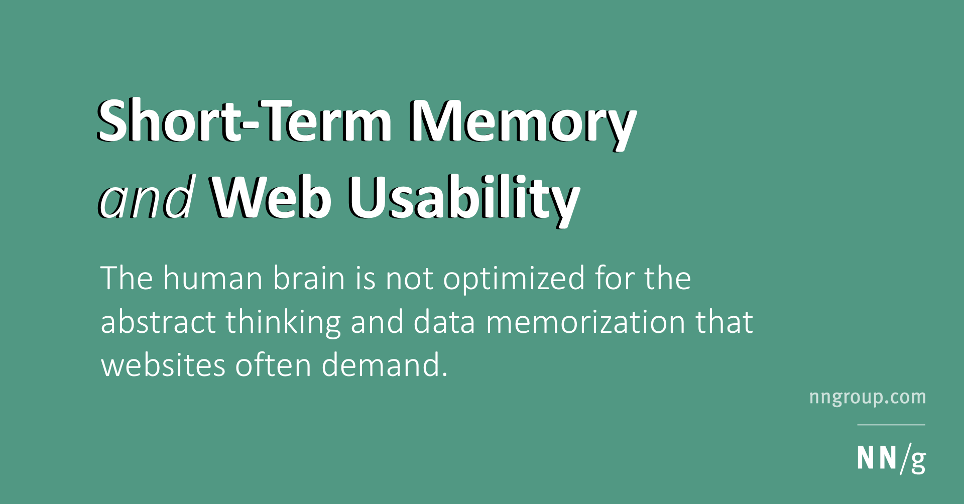 Short Term Memory And Web Usability
