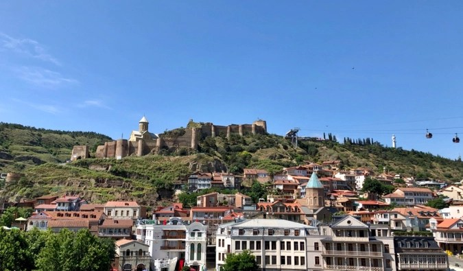 Blue skies over the historic city of Tbilisi, Georgia