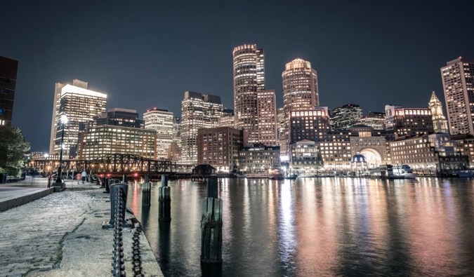 the skyline of Boston at night