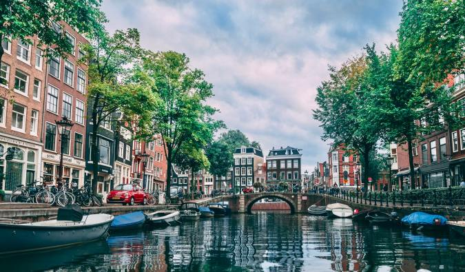 The calm waters of a canal in beautiful Amsterdam, Netherlands