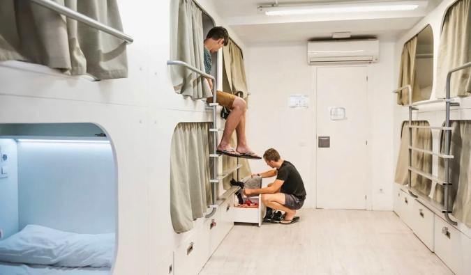 The clean dorm room of Hostel One Ramblas in Barcelona, Spain