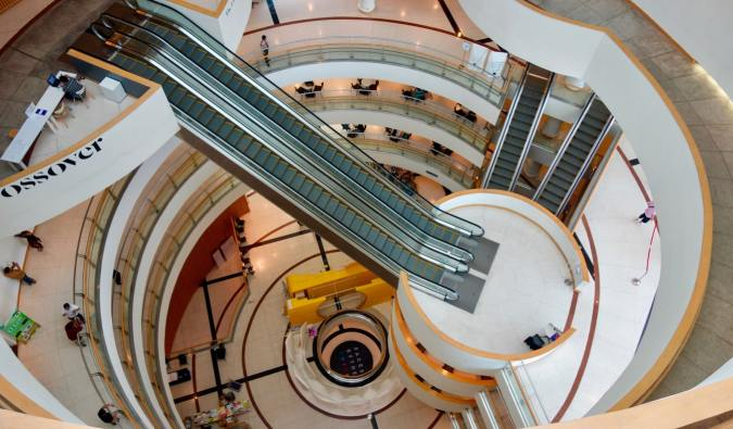 The interior of the Bangkok Art and Culture Center in Bangkok, Thailand