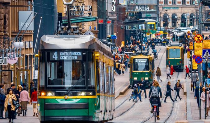 Busy streets of downtown Helsinki, Finland