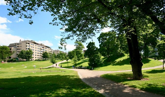 The green grass and trees of the spacious Sinebrychoff Park in Helsinki, Finland