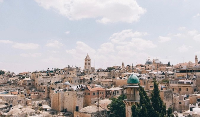The skyline of the historic city of Jerusalem in Israel