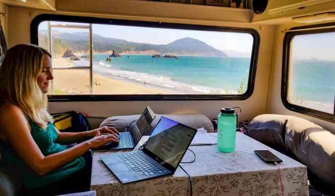 Anne from HoneyTrek working on a laptop in her RV