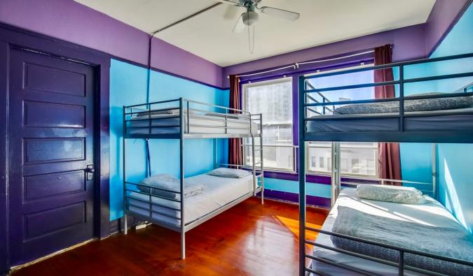 The colorful dorms of Lucky D's hostel in San Diego, California