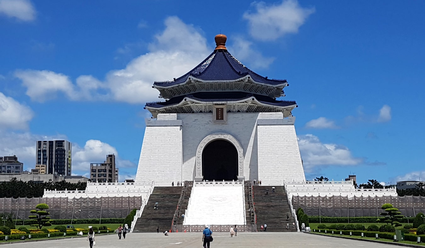 The massive Chiang Kai-shek Memorial building and Liberty Square in Taipei, Taiwan
