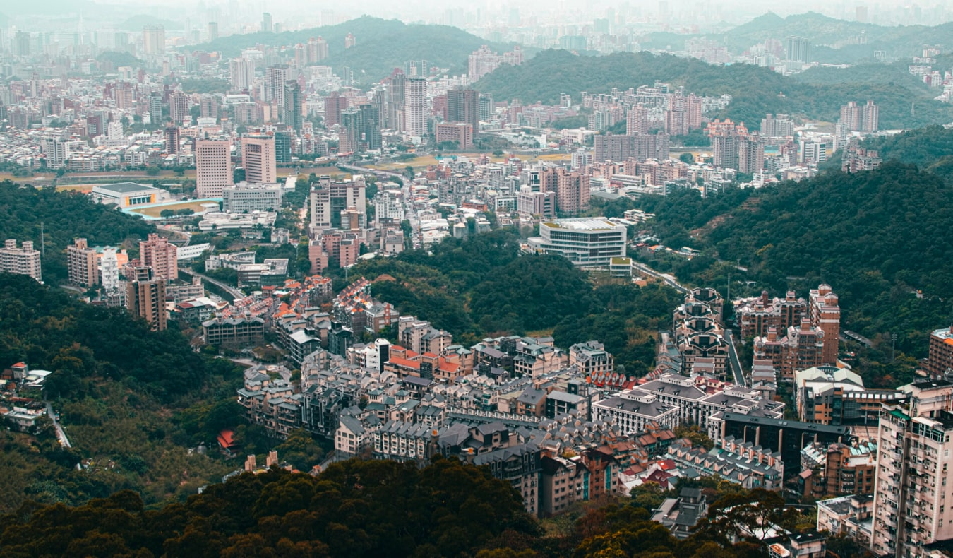 The view from the Maokong Gondola in Taipei, Taiwan