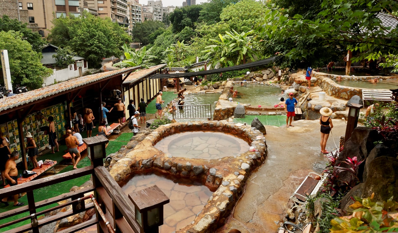 Tourists enjoying the Beitou Hot Springs in Taipei, Taiwan