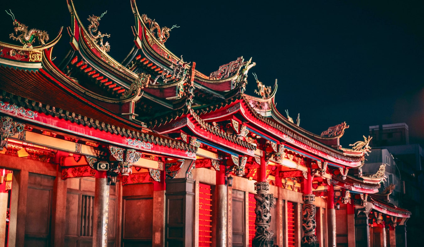 The famous and historic Longshan Temple in Taipei, Taiwan