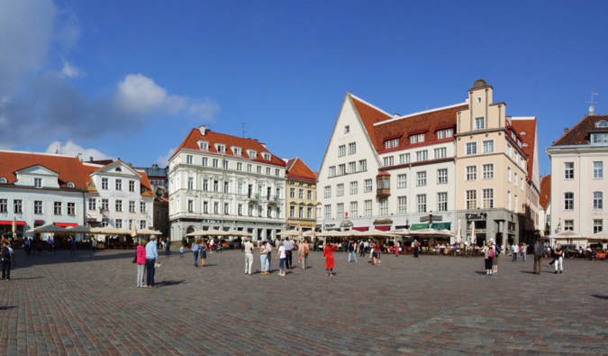 The Old Town of Tallinn, Estonia in summer with lots of people