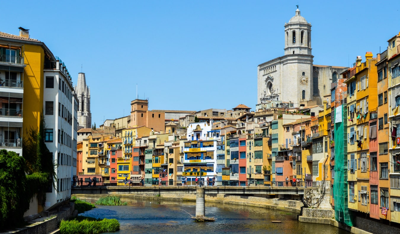 The colorful old buildings of Girona, Spain