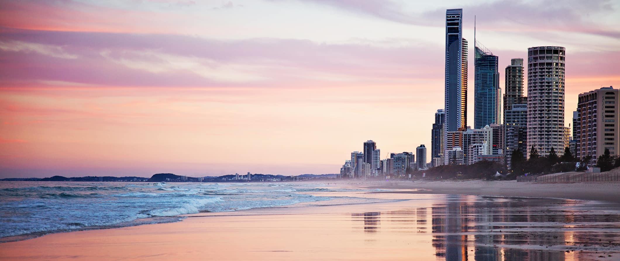australia city and beach at sunset