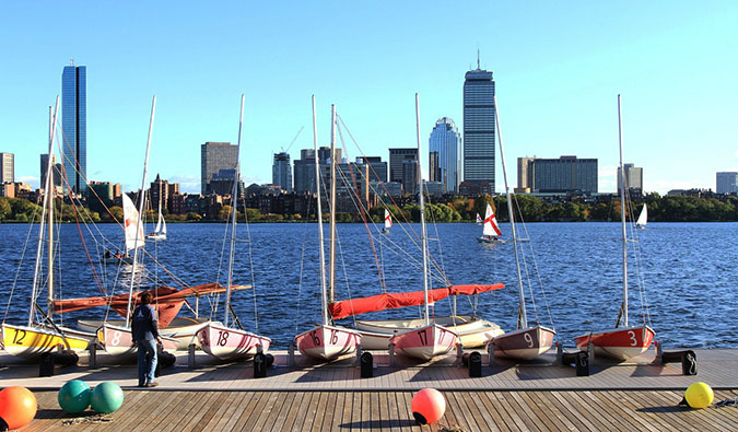 Blue skies over Boston's Charles River