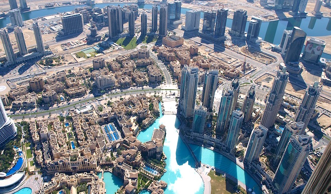 View of Dubai from one of its tall skyscrapers