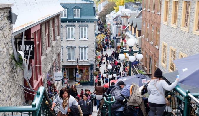 a bustling Quebec City