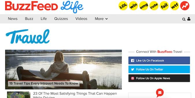 the buzzed travel blog screenshot