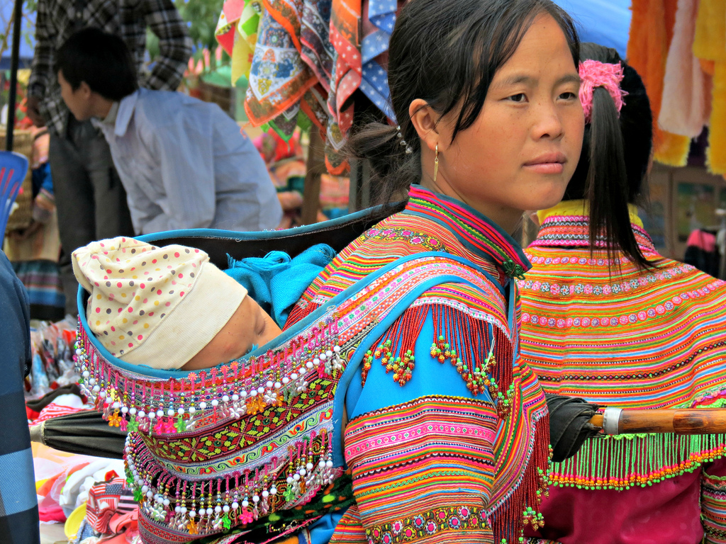 Colorful Hmong baby sling