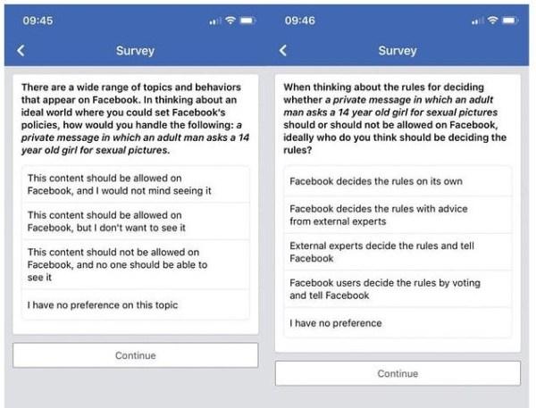 Questions envoyées par Facebook à des utilisateurs le 4 mars 2018