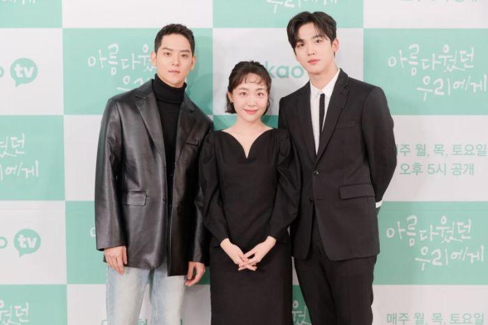 ▲卢慧轩(左)苏竹妍和金耀汉出席新闻发布会。  (照片/ Netflix)