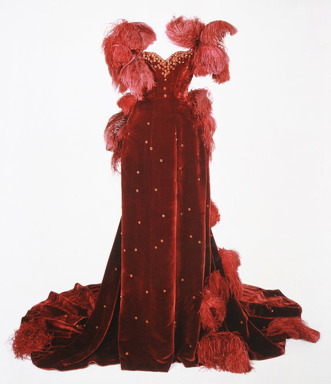 Burgundy ball gown worn by Vivien Leigh as Scarlett O'Hara in Gone With The Wind. Image courtesy Harry Ransom Center.