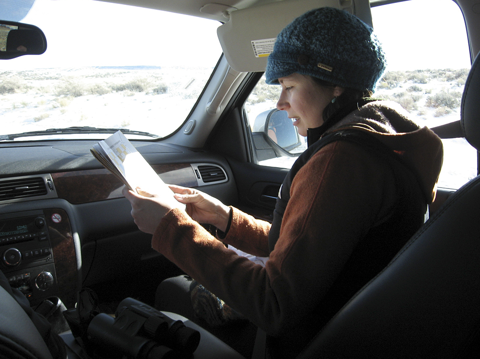Joy Bannon of the Wyoming Wildlife Federation examines a map for a BLM lease sale her group challenged.